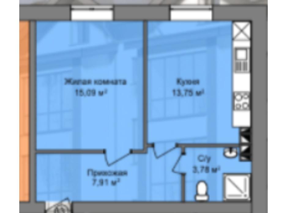 Планировка 1-комнатной квартиры в КД Березинский 30.26 м², фото 226861