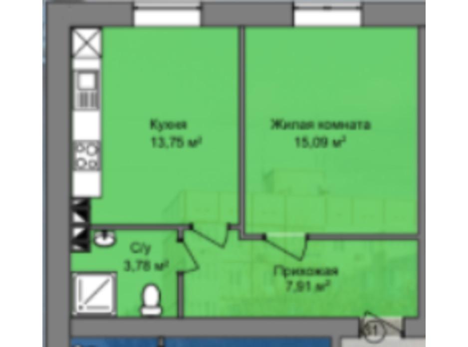 Планування 1-кімнатної квартири в КБ Березинський 40.53 м², фото 226862