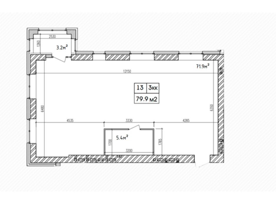 Планировка 3-комнатной квартиры в ЖК Аржанова 82.3 м², фото 226863