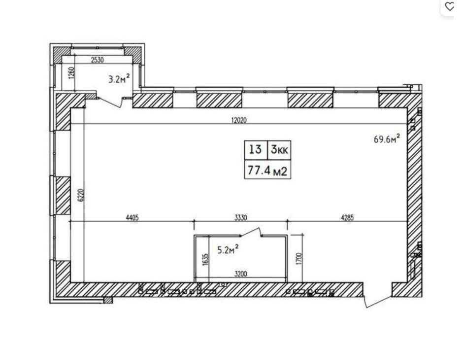 Планировка 3-комнатной квартиры в ЖК Аржанова 77.4 м², фото 226865
