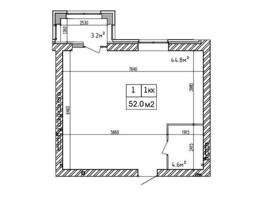 Планировка 1-комнатной квартиры в ЖК Аржанова 52 м², фото 226868