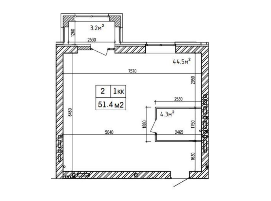 Планировка 2-комнатной квартиры в ЖК Аржанова 51.4 м², фото 226869