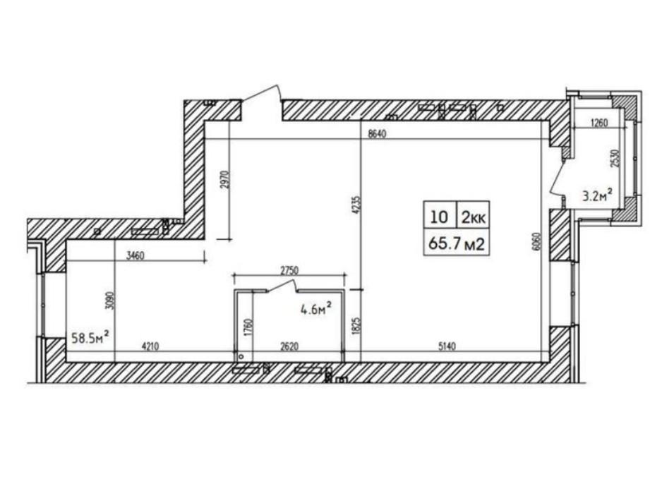 Планировка 2-комнатной квартиры в ЖК Аржанова 65.7 м², фото 226873