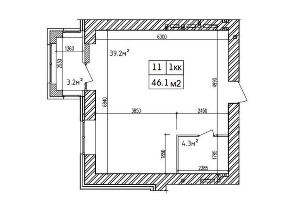 Планировка 1-комнатной квартиры в ЖК Аржанова 44 м², фото 226879