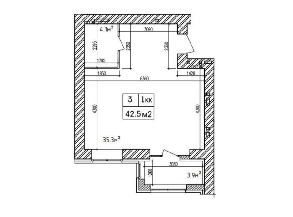 Планировка 1-комнатной квартиры в ЖК Аржанова 42.7 м², фото 226885