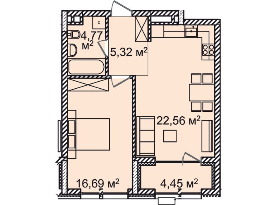 Планировка 1-комнатной квартиры в ЖК Montreal House 54.09 м², фото 226971