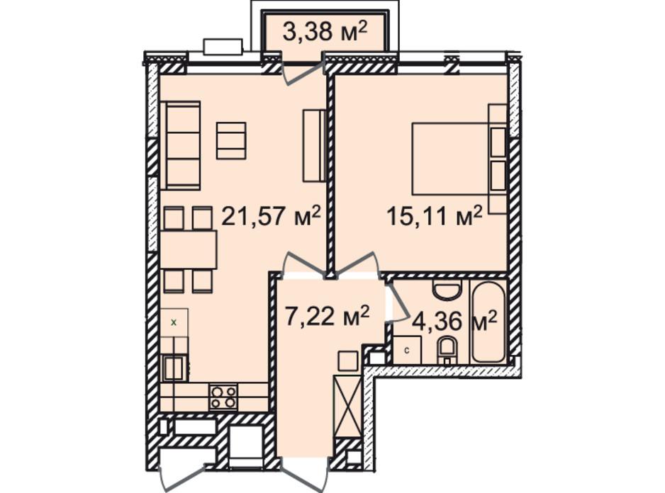 Планування 1-кімнатної квартири в ЖК Montreal House 50.15 м², фото 226973
