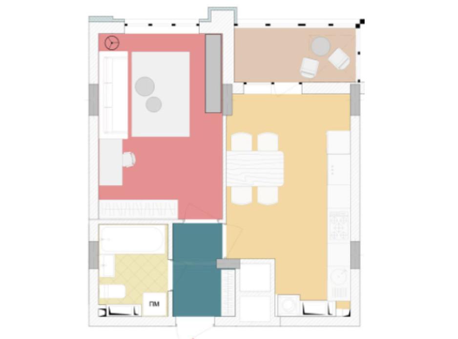 Планування 1-кімнатної квартири в ЖК Wellspring 42.31 м², фото 227272