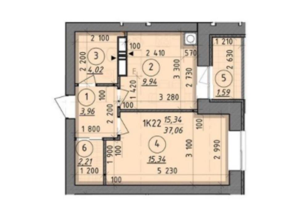 Планировка 1-комнатной квартиры в ЖК Французский Бульвар 37.06 м², фото 227554