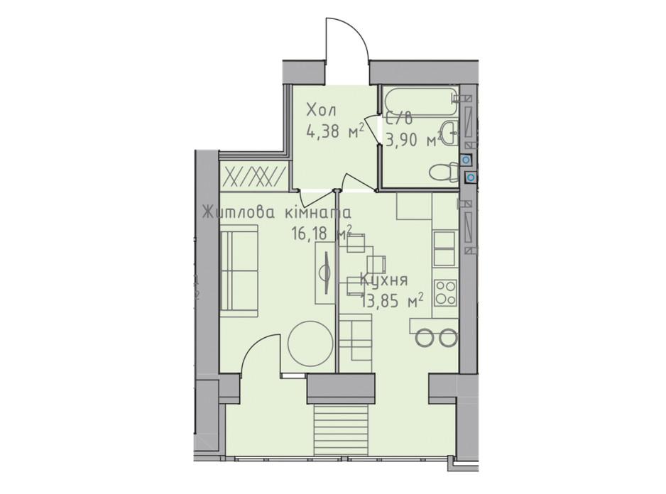 Планировка 1-комнатной квартиры в ЖК Статус 1 38.58 м², фото 227616