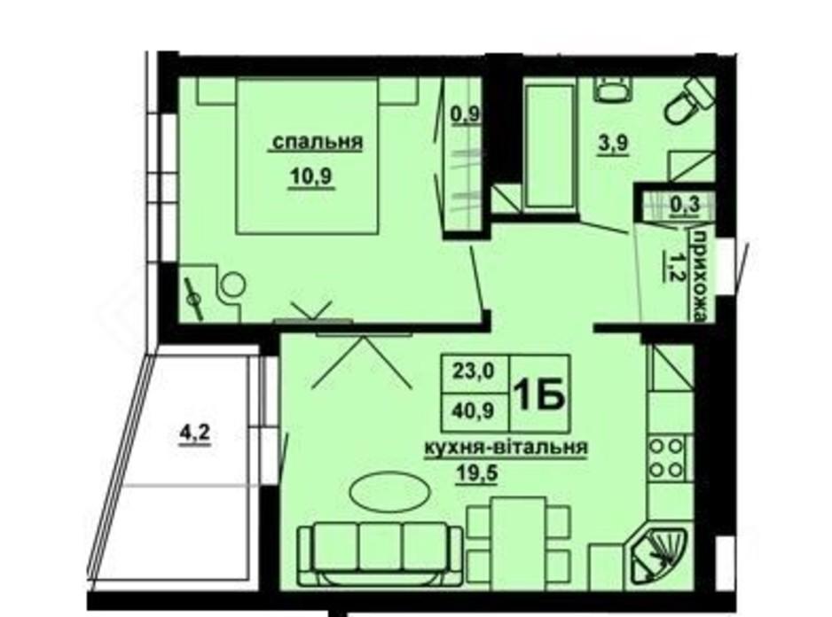 Планировка 1-комнатной квартиры в ЖК Доминиканский 40.9 м², фото 228566