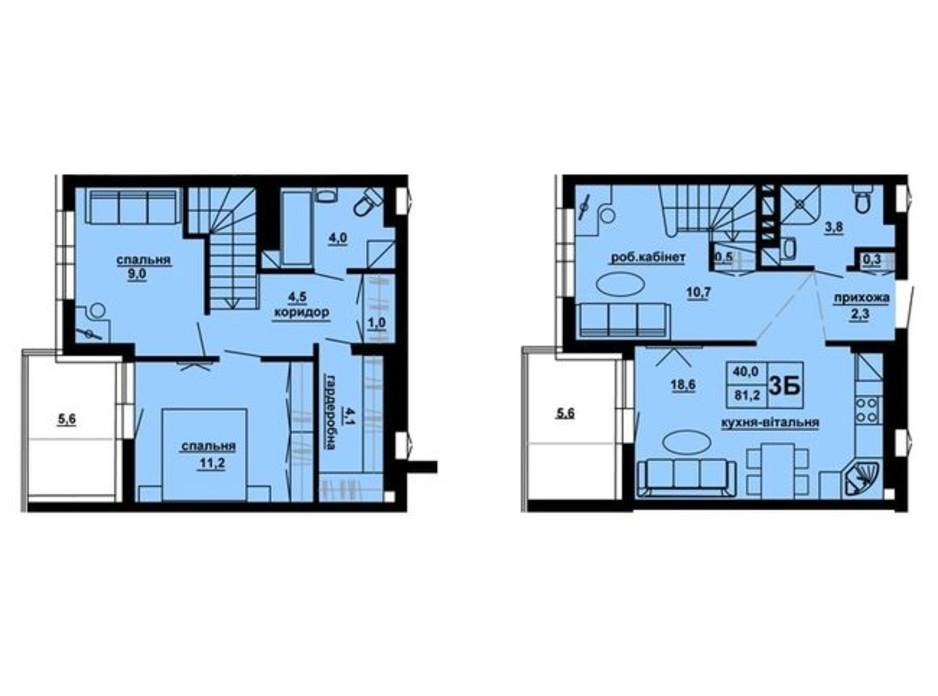 Планировка 3-комнатной квартиры в ЖК Доминиканский 81.2 м², фото 228576
