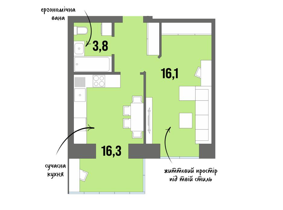 Планування 1-кімнатної квартири в ЖК DreamTown 40.6 м², фото 228719