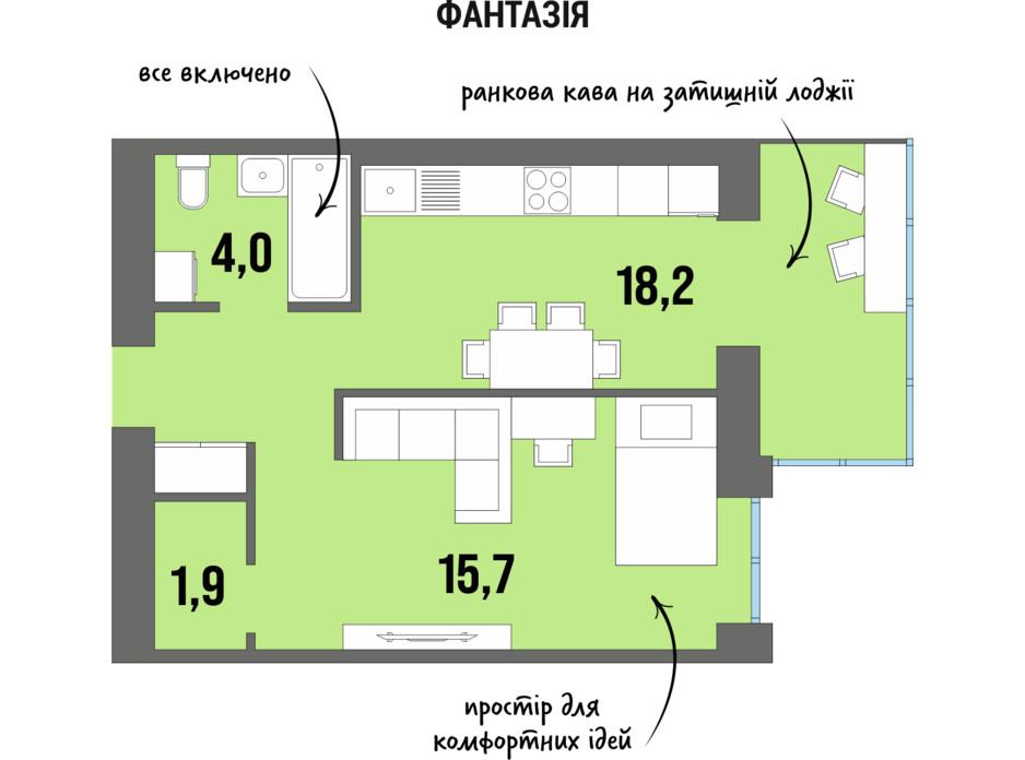 Планування 1-кімнатної квартири в ЖК DreamTown 42.9 м², фото 228753
