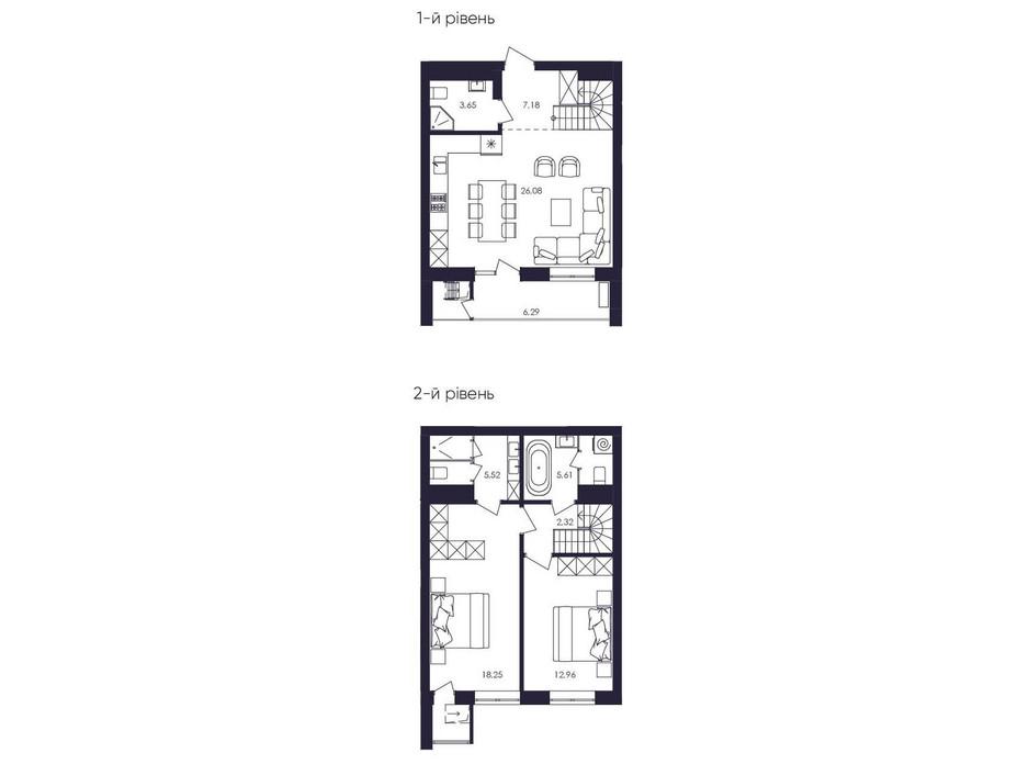 Планировка многоуровневой квартиры в ЖК Avalon Up 84.72 м², фото 229059