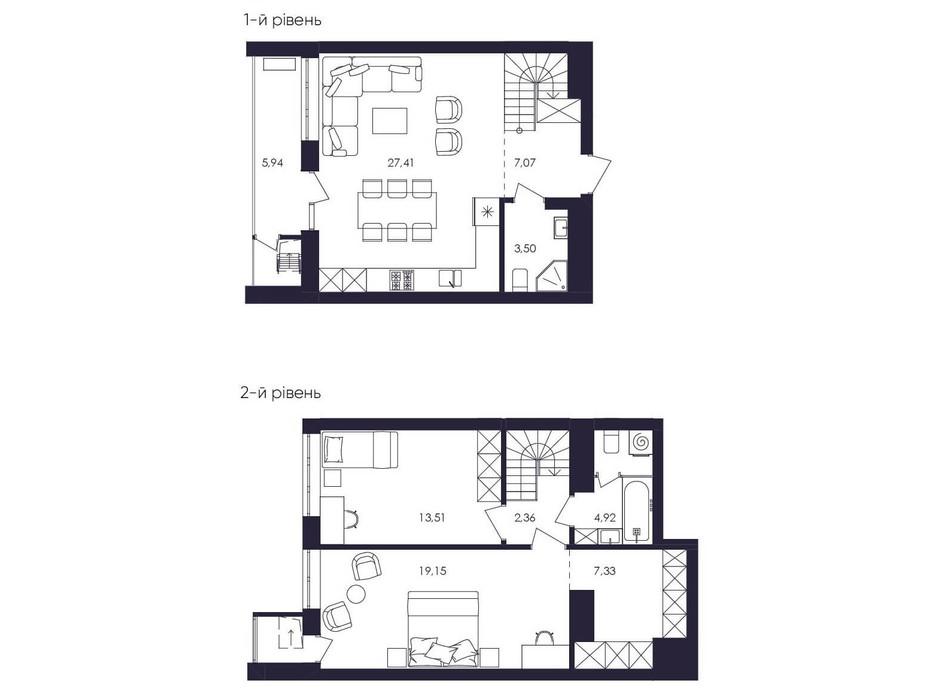Планировка многоуровневой квартиры в ЖК Avalon Up 88.22 м², фото 229063