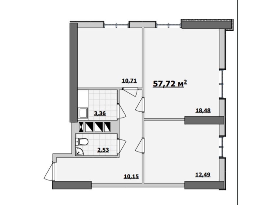 Планування приміщення в БЦ Kadorr City 57.72 м², фото 229104