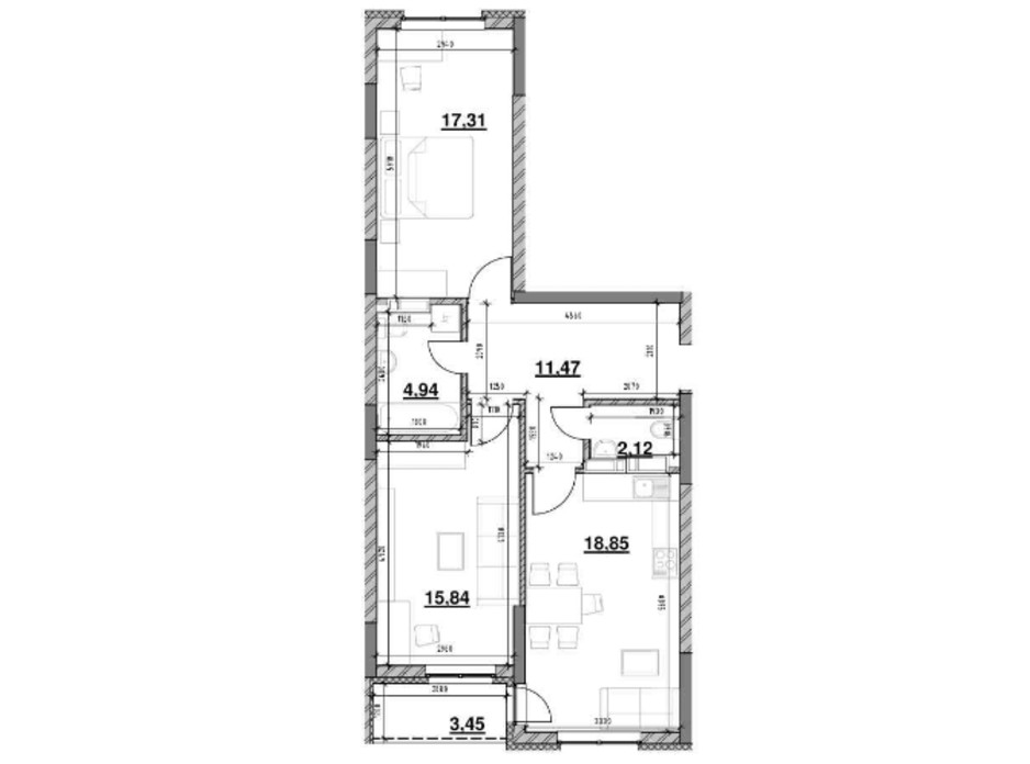 Планировка 2-комнатной квартиры в ЖК Ok`Land 73.98 м², фото 229143