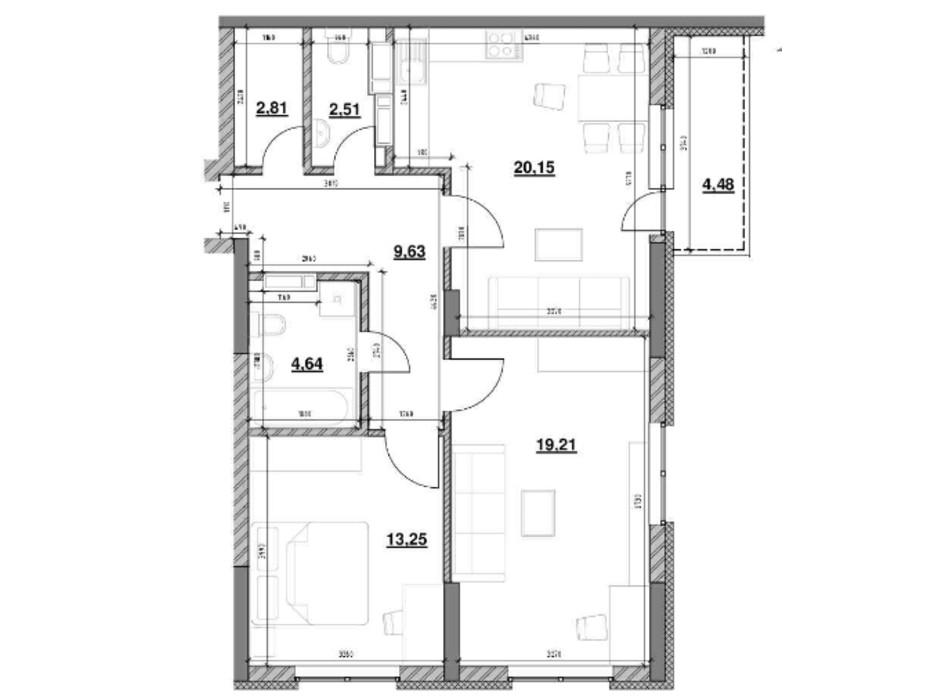 Планування 2-кімнатної квартири в ЖК Ok`Land 76.68 м², фото 229146