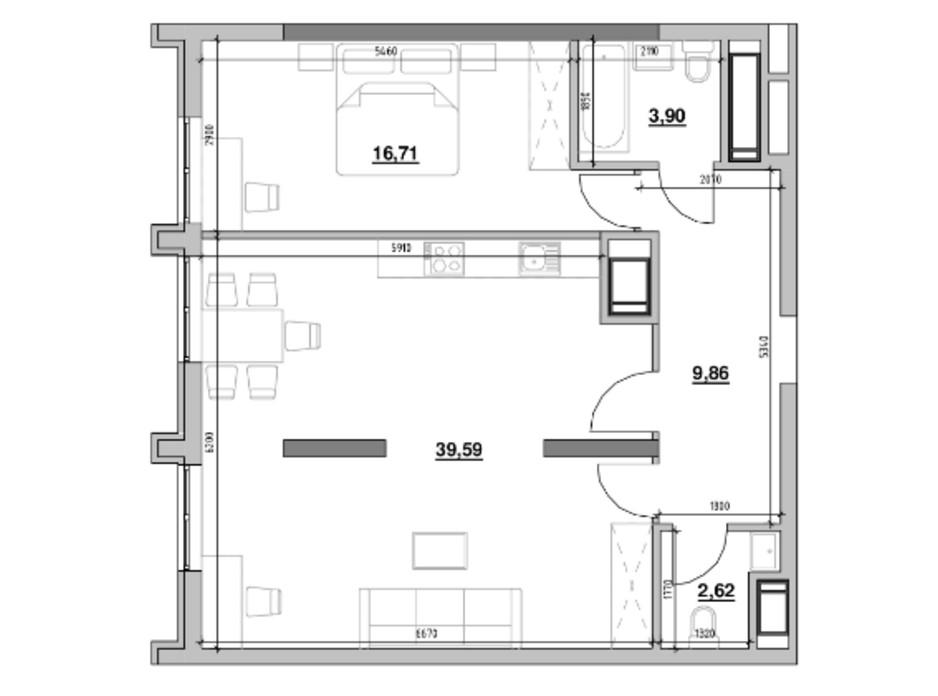 Планування 1-кімнатної квартири в ЖК Nordica Residence 72.68 м², фото 229149