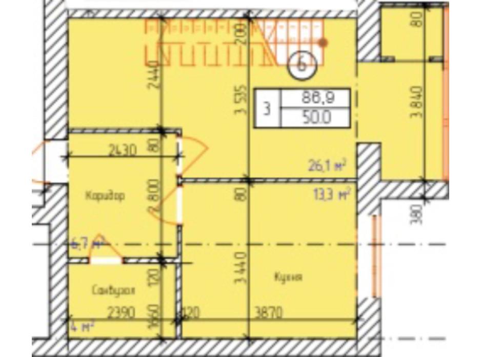 Планировка многоуровневой квартиры в ЖК Dream Park 86.9 м², фото 229333