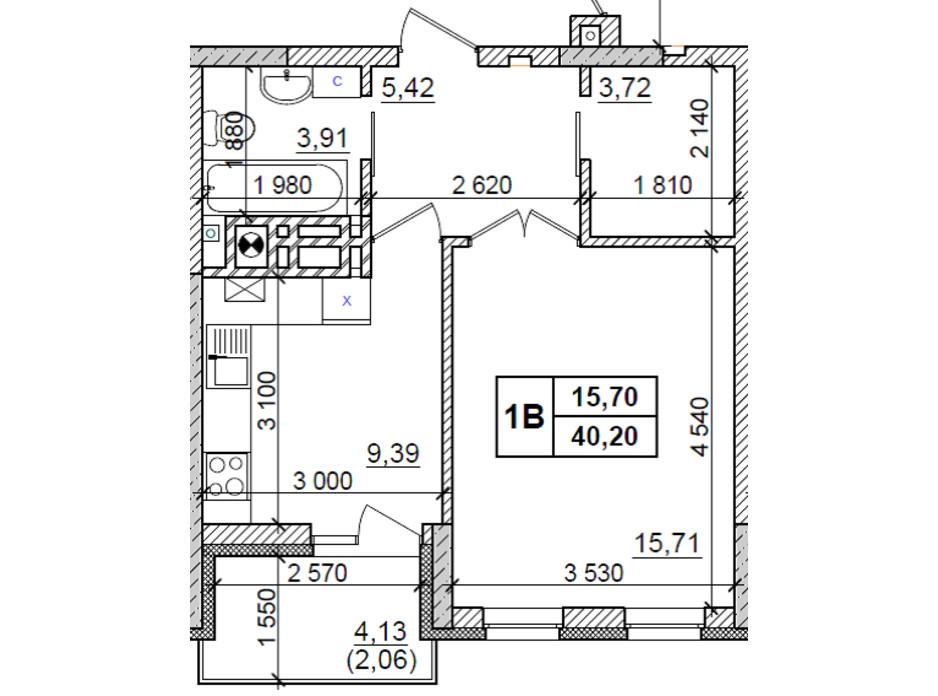 Планировка 1-комнатной квартиры в ЖК Оазис Буковины 40.2 м², фото 229515