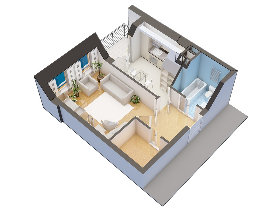 Планировка 1-комнатной квартиры в ЖК Оазис Буковины 40.2 м², фото 229516
