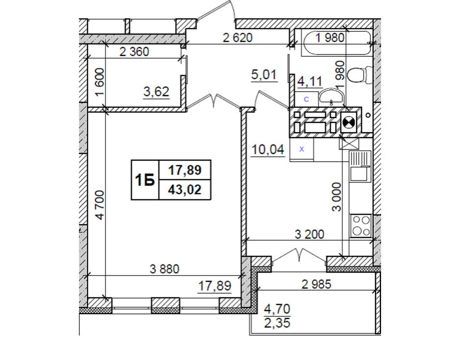 Планировка 1-комнатной квартиры в ЖК Оазис Буковины 43.02 м², фото 229521