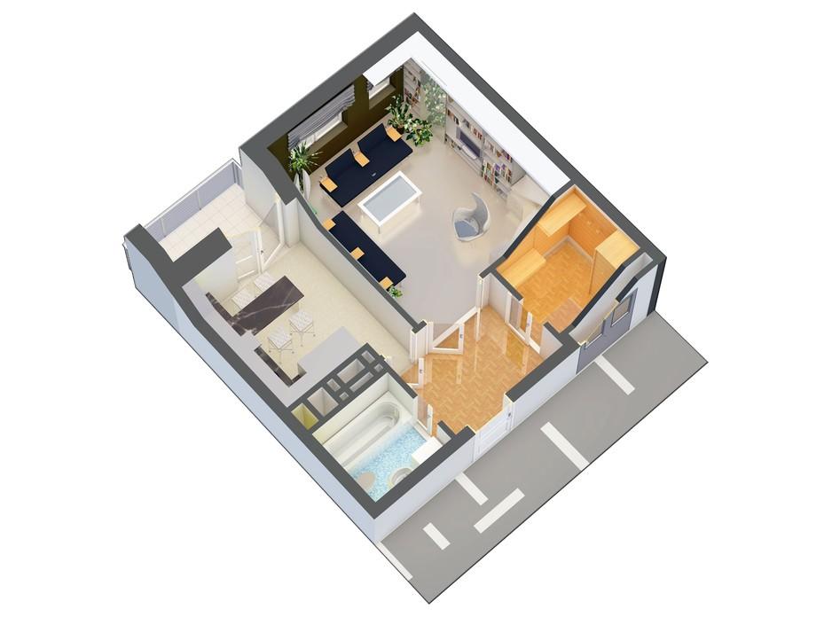Планировка 1-комнатной квартиры в ЖК Оазис Буковины 43.02 м², фото 229522