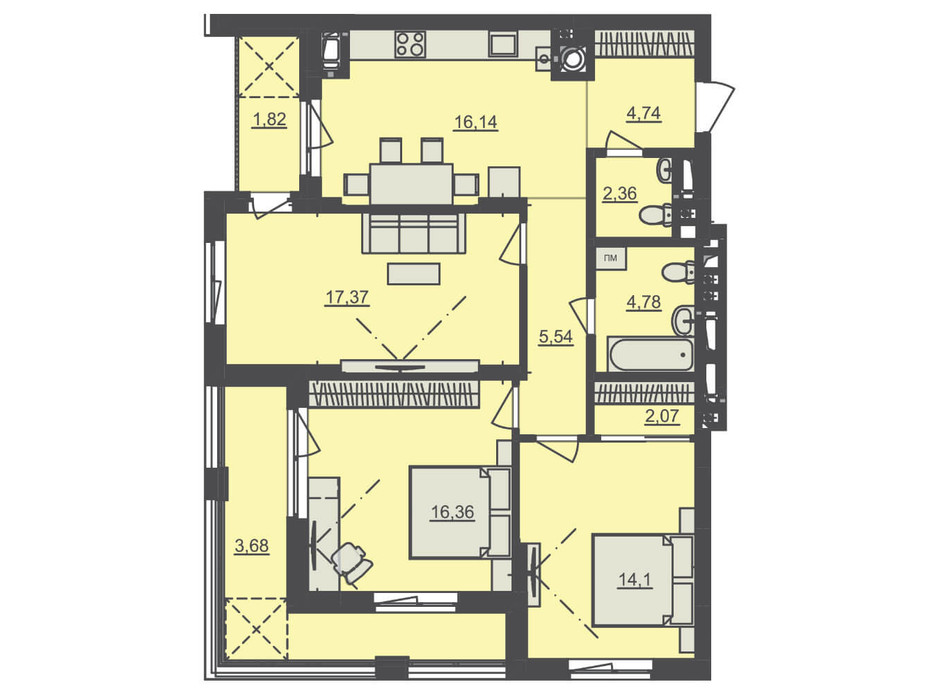 Планування 3-кімнатної квартири в ЖК Семицвіт 88.89 м², фото 229539