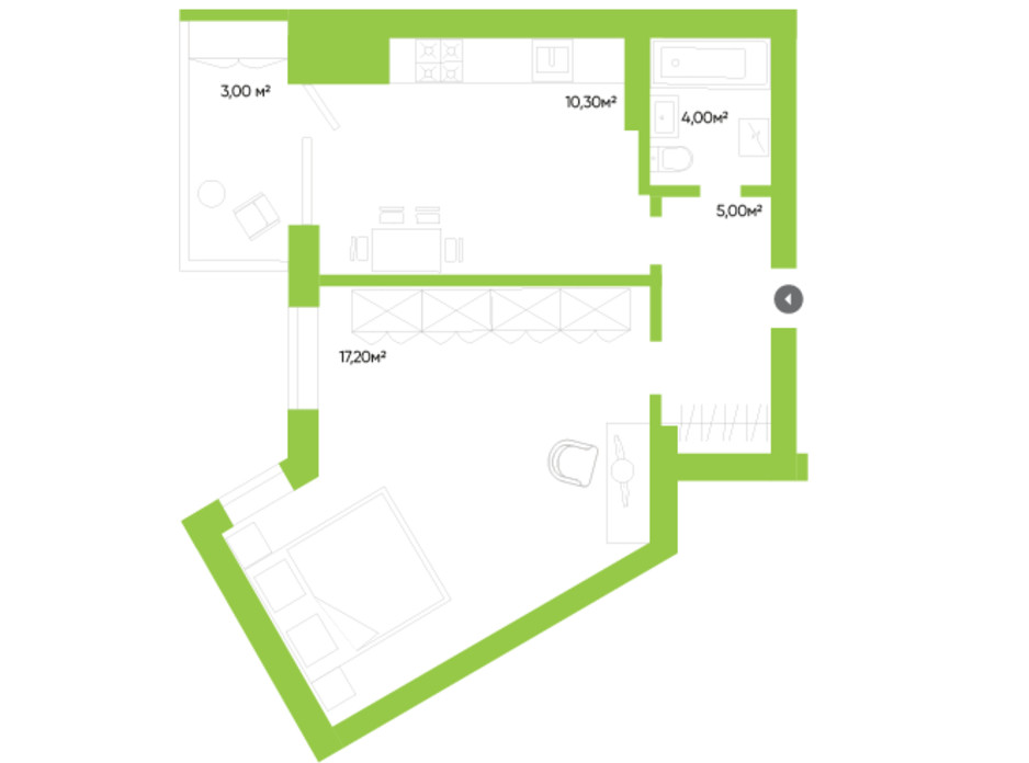 Планировка 1-комнатной квартиры в ЖК Оселя парк 39.5 м², фото 229551