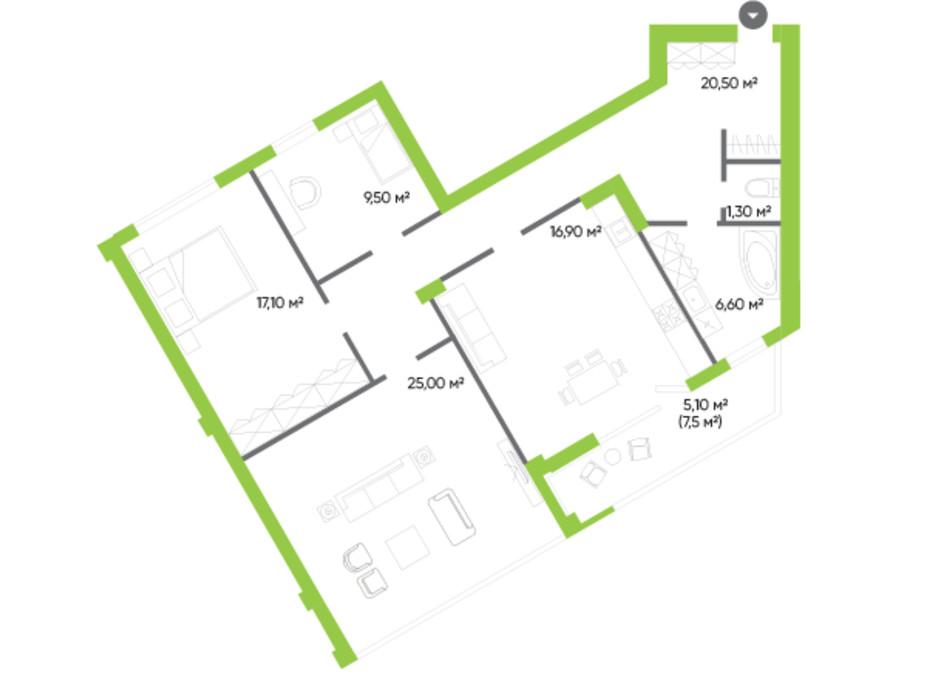 Планування 3-кімнатної квартири в ЖК Оселя парк 102 м², фото 229552