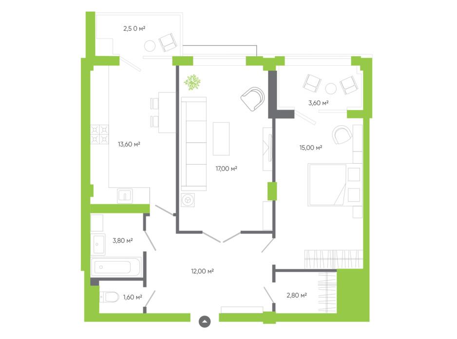 Планировка 2-комнатной квартиры в ЖК Оселя парк 71.8 м², фото 229554