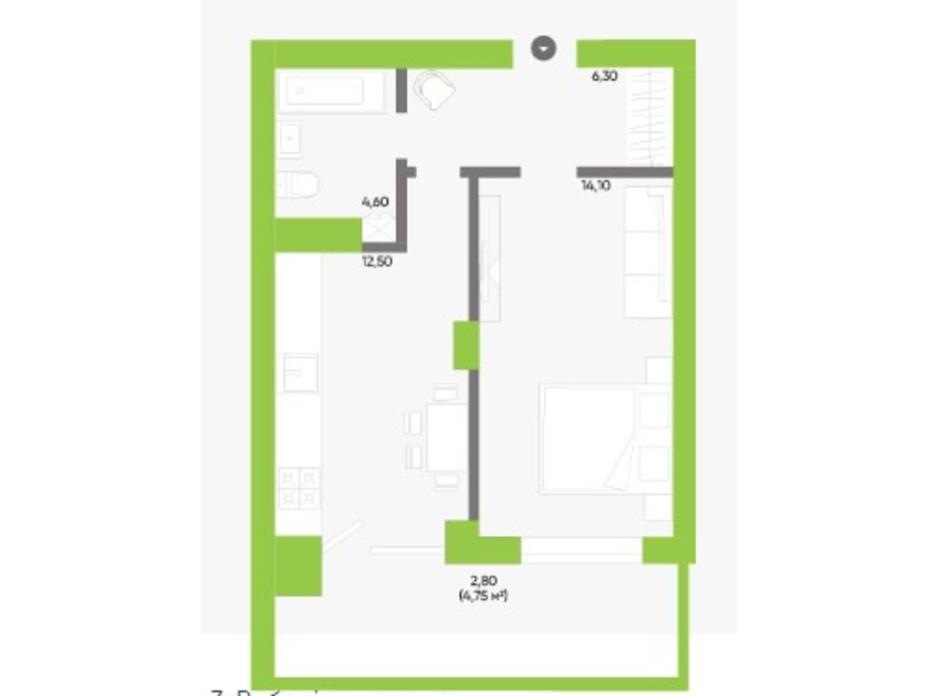 Планування 1-кімнатної квартири в ЖК Оселя парк 40.3 м², фото 229570