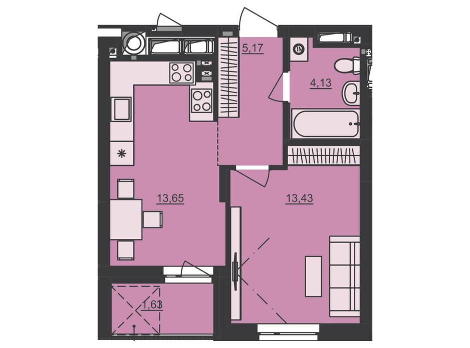 Планування 1-кімнатної квартири в ЖК Семицвіт 38.01 м², фото 229684