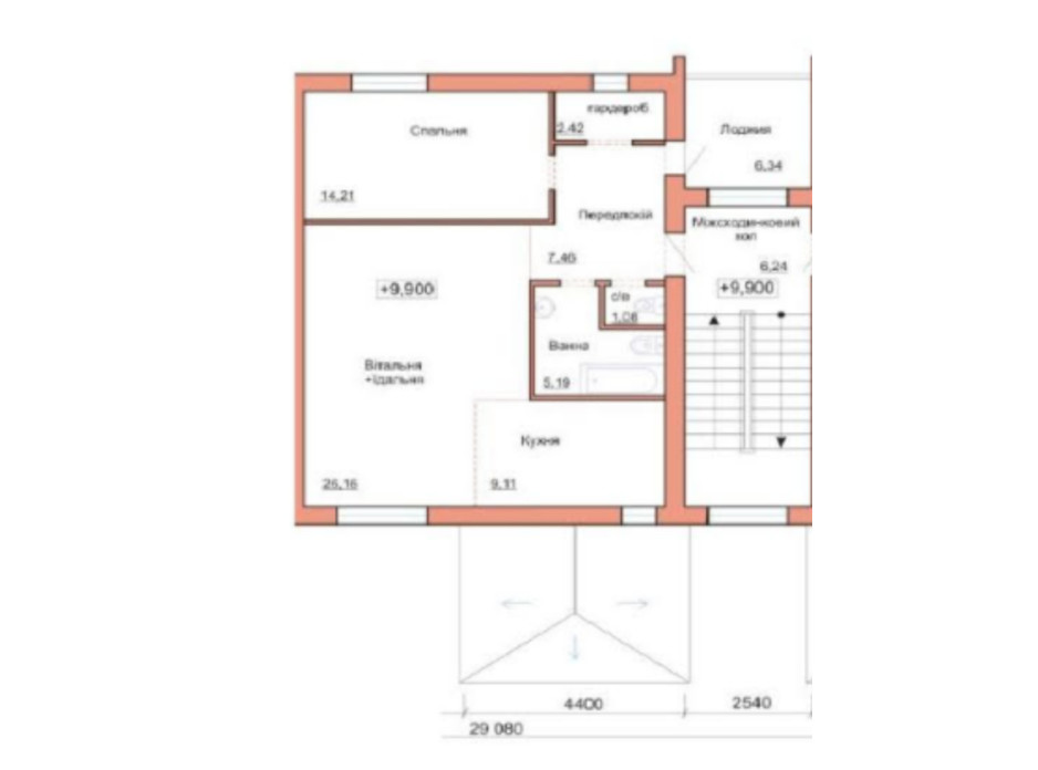Планировка 2-комнатной квартиры в ЖК Три шоколада 68.8 м², фото 230264