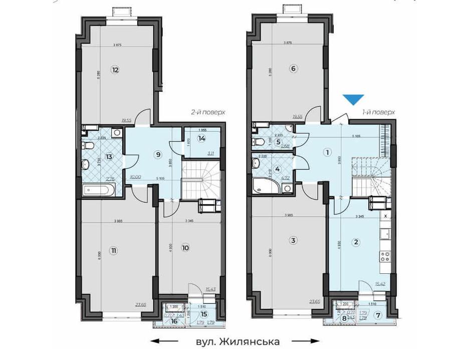 Планировка многоуровневой квартиры в ЖК Crystal Residence 166.25 м², фото 230372