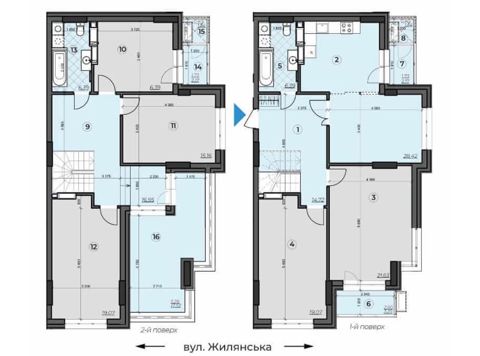 Планировка многоуровневой квартиры в ЖК Crystal Residence 170.85 м², фото 230373