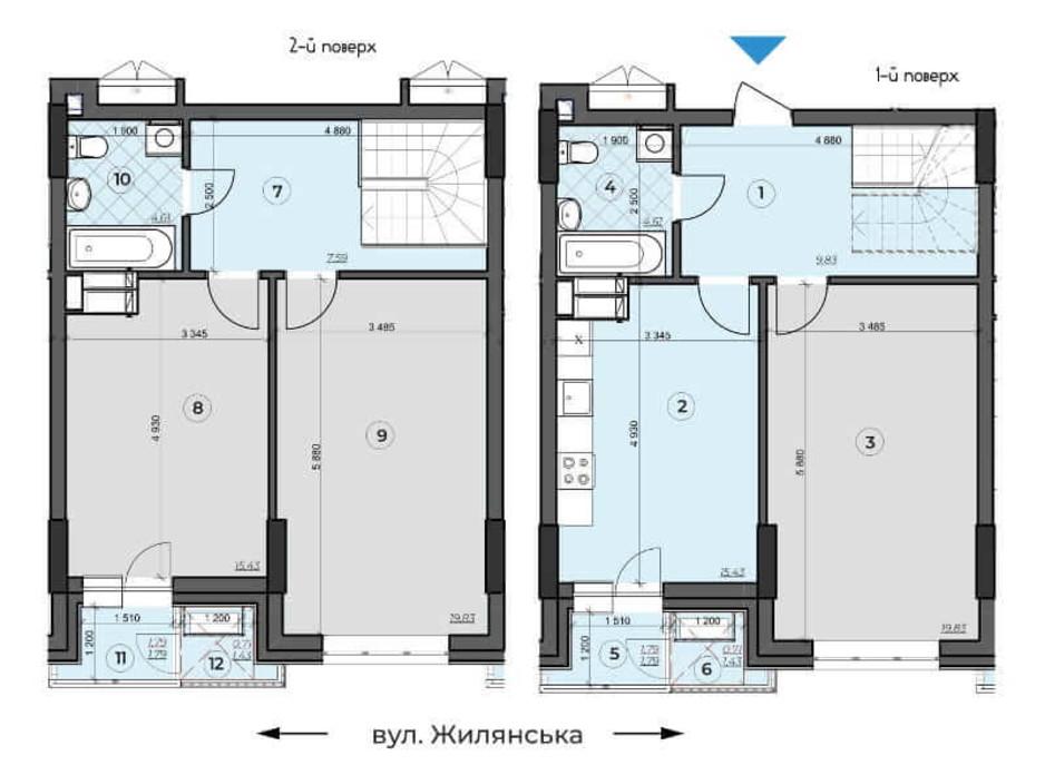 Планировка многоуровневой квартиры в ЖК Crystal Residence (Кристал Резиденс) 102.16 м², фото 230375