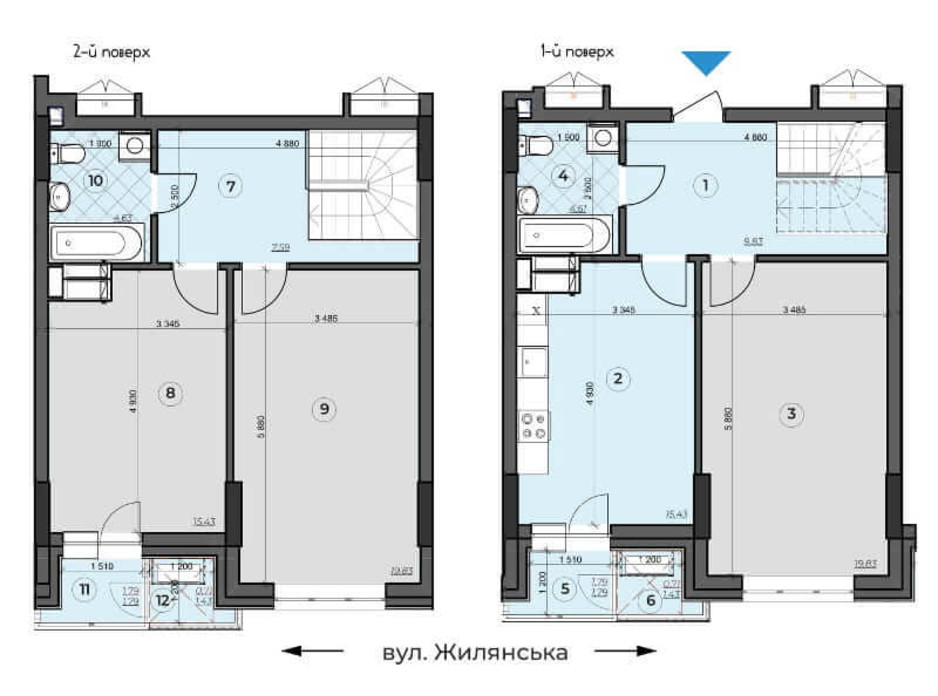 Планировка многоуровневой квартиры в ЖК Crystal Residence 102.18 м², фото 230377