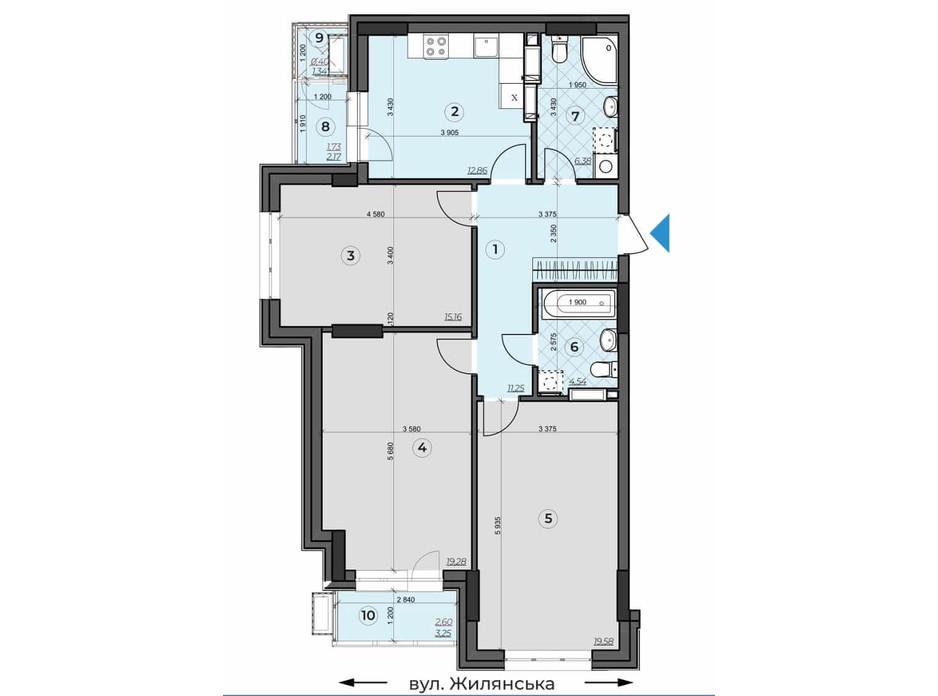 Планування 3-кімнатної квартири в ЖК Crystal Residence 93.94 м², фото 230378