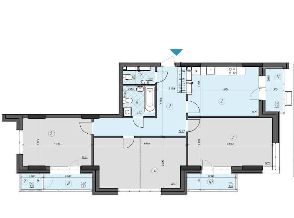 Планировка 3-комнатной квартиры в ЖК Crystal Residence 103.63 м², фото 230390