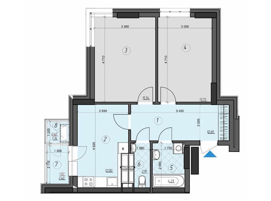 Планировка 2-комнатной квартиры в ЖК Crystal Residence (Кристал Резиденс) 60.68 м², фото 230392