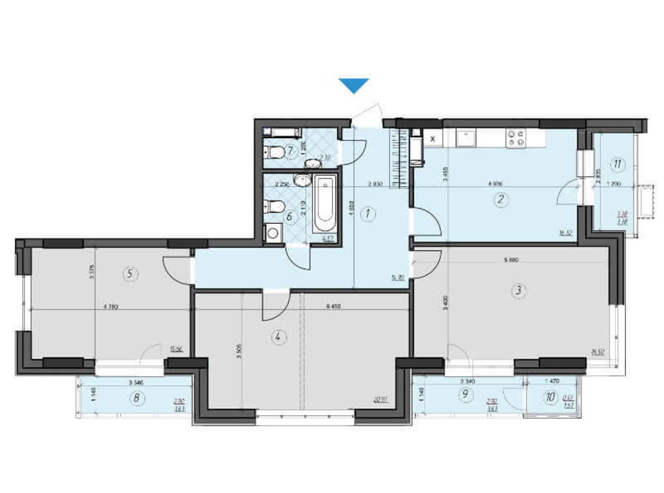Планировка 3-комнатной квартиры в ЖК Crystal Residence 104.06 м², фото 230394