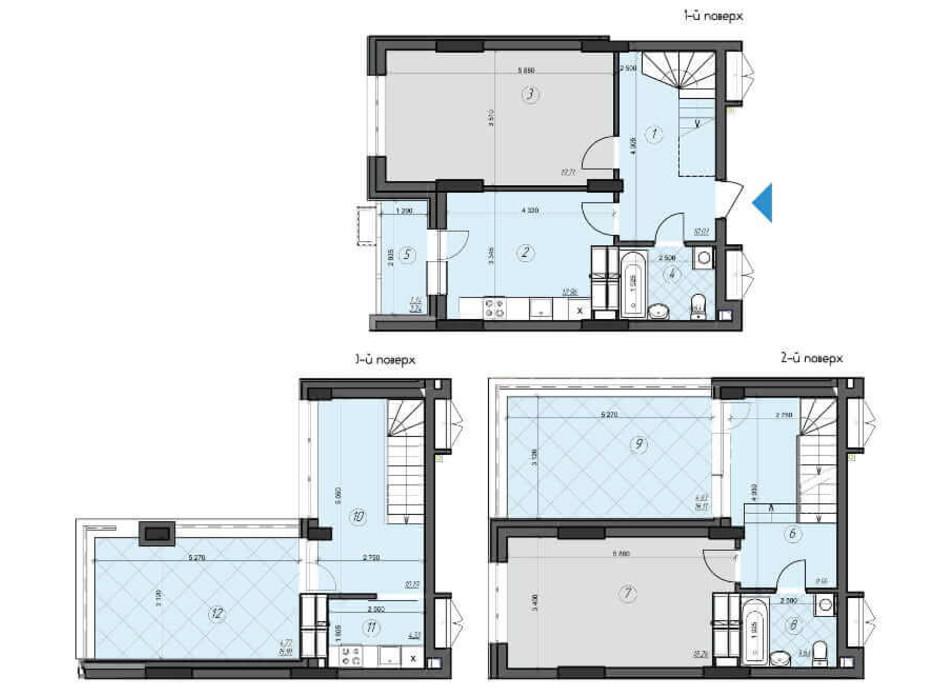 Планировка многоуровневой квартиры в ЖК Crystal Residence (Кристал Резиденс) 107.47 м², фото 230397