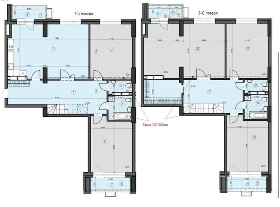 Планировка многоуровневой квартиры в ЖК Crystal Residence 243.23 м², фото 230403