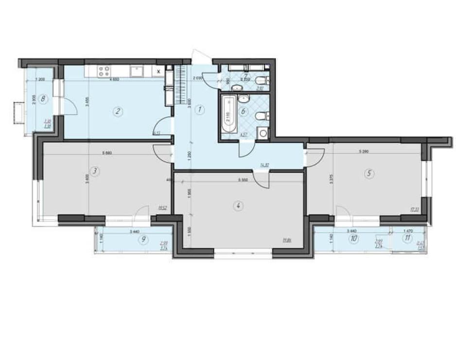 Планировка 3-комнатной квартиры в ЖК Crystal Residence (Кристал Резиденс) 103.64 м², фото 230413