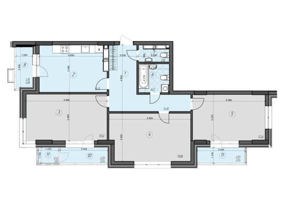 Планировка 3-комнатной квартиры в ЖК Crystal Residence 103.64 м², фото 230414