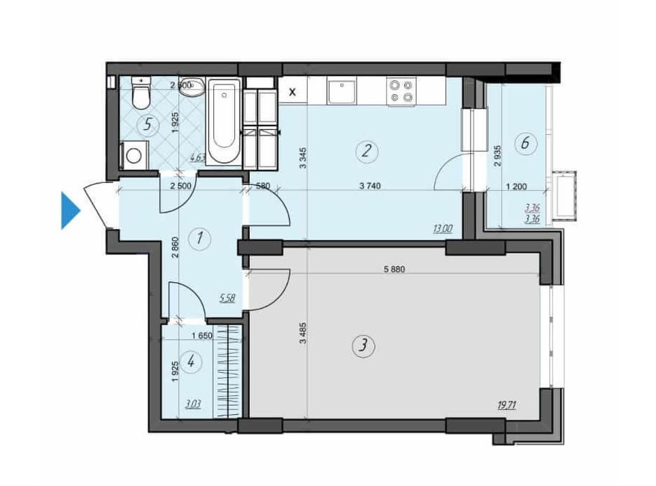 Планировка 1-комнатной квартиры в ЖК Crystal Residence (Кристал Резиденс) 49.31 м², фото 230415