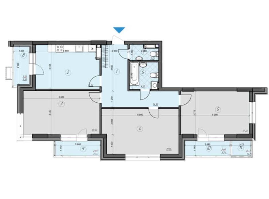 Планировка 3-комнатной квартиры в ЖК Crystal Residence 104.07 м², фото 230416
